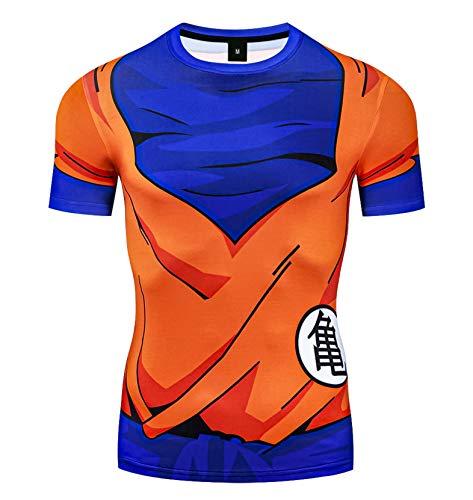 Triv Men's Compression Goku Workout Short Sleeve T Shirt (Goku, Medium)