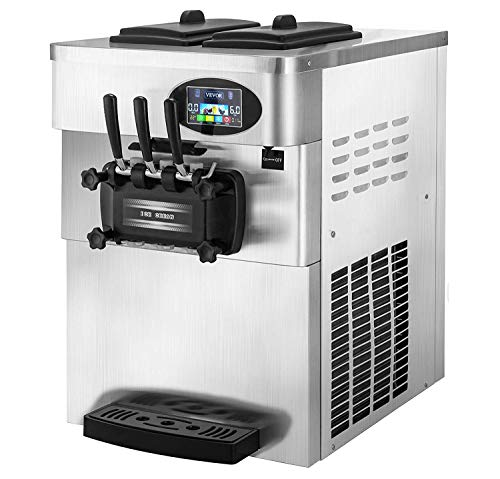 VEVOR 2200W Commercial Soft Ice Cream Machine 3 Flavors 5.3 to 7.4Gallons per Hour PreCooling at Night Auto Clean LCD Panel for Restaurants Snack Bar, Silver