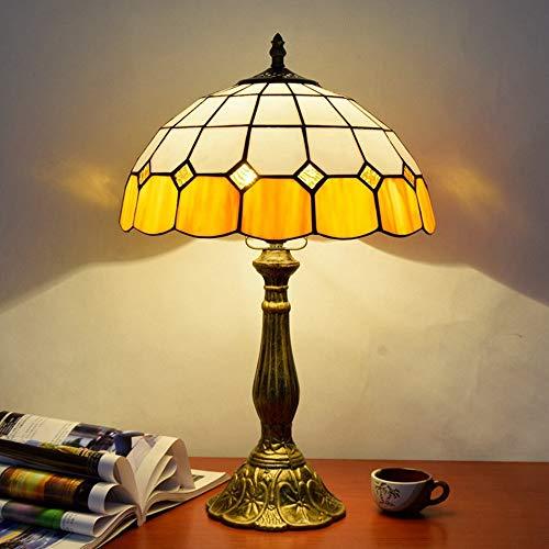 WSJTT Desk Lamp Lámpara Europea Creativa Estilo Tiffany Estilo Mesa Simple mediterráneo Naranja Dormitorio Noche lámpara de Cama Barra Restaurante lámpara de Vidrio Mesa de Mesa 30 * 48 cm