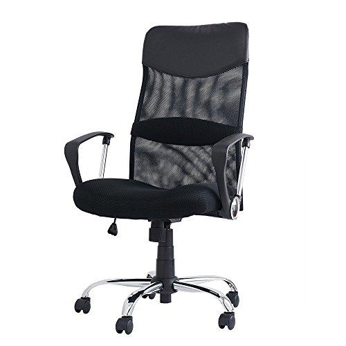 ハイバックオフィスチェア 腰あてクッション付き メッシュタイプ ブラック OC-001BK