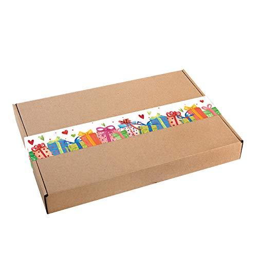 Logbuch-Verlag 10 große Geschenkschachteln Kraftpapier MIT AUFKLEBER bunt Verpackung DHL Maxibrief 30,5 x 20,2 x 4,5 cm Geschenkbox Geburtstag Schachtel natur braun