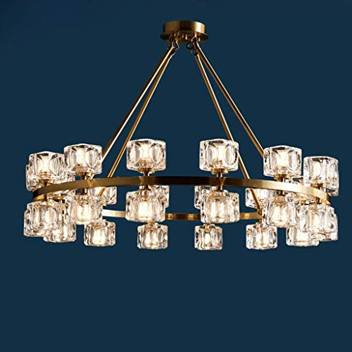 Lámpara de araña de Cristal de luz de Lujo Moderna Atmósfera Villa Lámparas Colgantes de Rama de Cobre Forjado Dormitorio Simple Molecular Magic Bean Living, 28 Cabezas