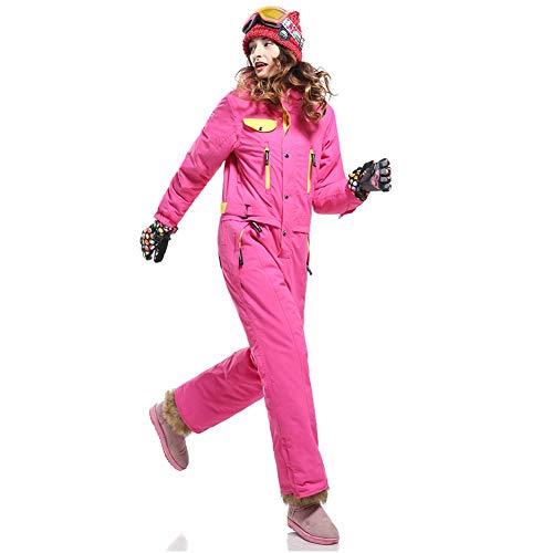 Femme Imperméable Vestes de Ski Une Seule pièce Costume de Ski Combinaisons de Ski Jeu de Costume 30 degrés Épais Coupe-Vent Veste de Pluie et Pantalon Set-Rose Rouge XS
