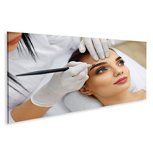 Bild Bilder auf Leinwand Make up Kosmetikerin Hände machen Augenbrauen Tattoo auf Frau Facepermanent Brauen Make up im Schönheitssalon geschlossen Wandbild Poster Leinwandbild QBVD