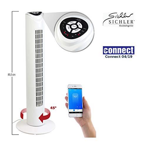 Sichler Haushaltsgeräte Ventilator mit App: Turmventilator mit WLAN und App, für Siri, Alexa und Google Assistant (Ventilator Alexa)