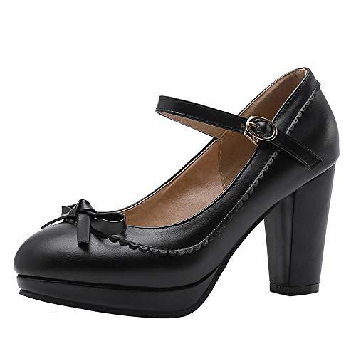 BeiaMina Damen Klassischer High Heel Pumps Fesselriemen Party Schuhe Plateau Pumps Blockabsatz Black Gr 38 Asian