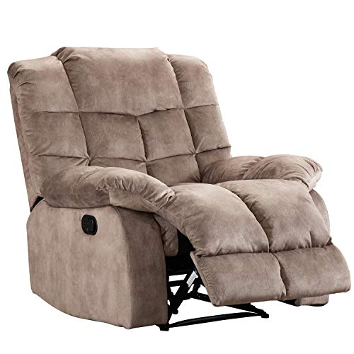 Merax Manual Recliner Chair Single Sofa, Including Overstuffed Cushions for Home Theater Living Room, Camel