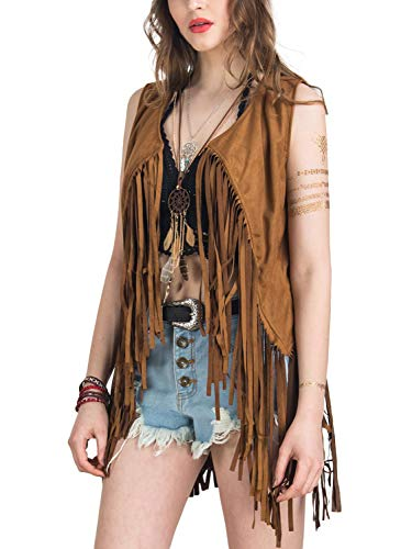 PERSUN Women's Fringe Vest Faux Suede Open Front Sleeveless Vest Cardigan 70S Hippie Clothes