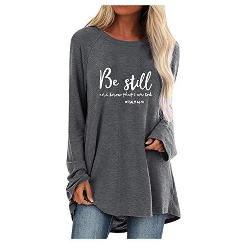 H.eternal (TM) Frauen Mode Plus Size Print Rundhals Langarm Langarm T-Shirt Bluse für Damen Party Arbeit Büro Bluse Sommer Hemd Gr. Medium, grau