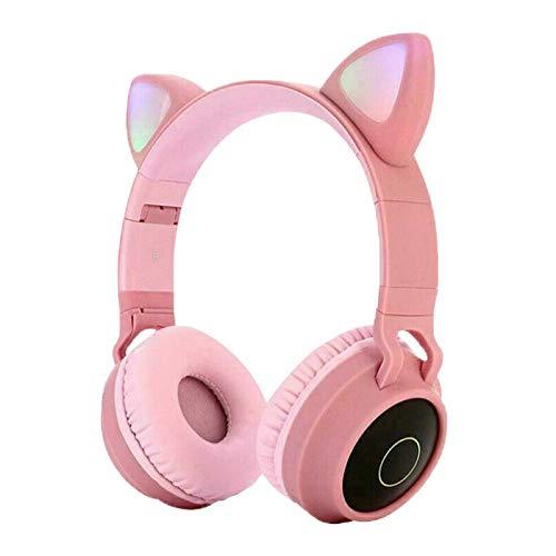 Auriculares Bluetooth rosados, auriculares deportivos portátiles, orejas de gato inalámbricos Bluetooth 5.0 estéreo Bass Headset luces LED para adultos - rosa