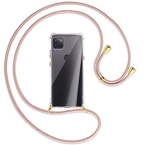 mtb more energy Collar Smartphone para Motorola Moto G 5G (6.7'') - Oro Rosa/Oro - Funda Protectora ponible - Carcasa Anti Shock con Cuerda Correa