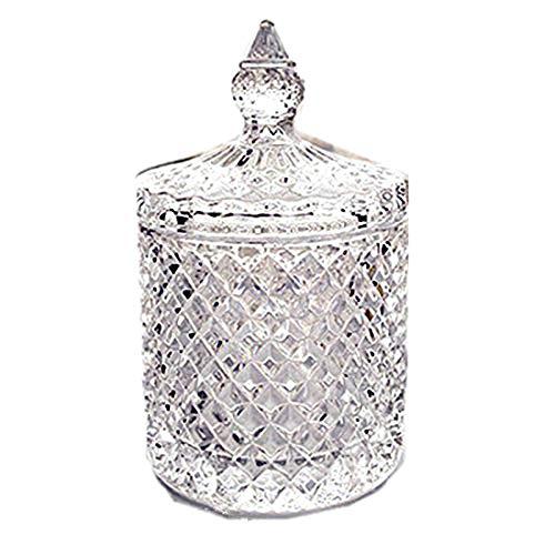 [narunaru] ガラス製 小物入れ 綿棒入れ 楊枝入れ クリアガラス インテリア 蓋付 透明