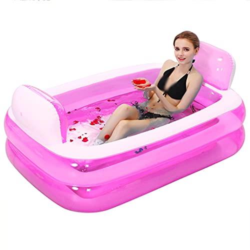 MaxTom Bañera Inflable 152x108x60cm Barril de baño Plegable Adulto Grueso PVC Bañera de remojo portátil Relajación SPA Piscina Doble Capa Fácil de Llevar (Color : Pink, Size : 152×108×60cm)