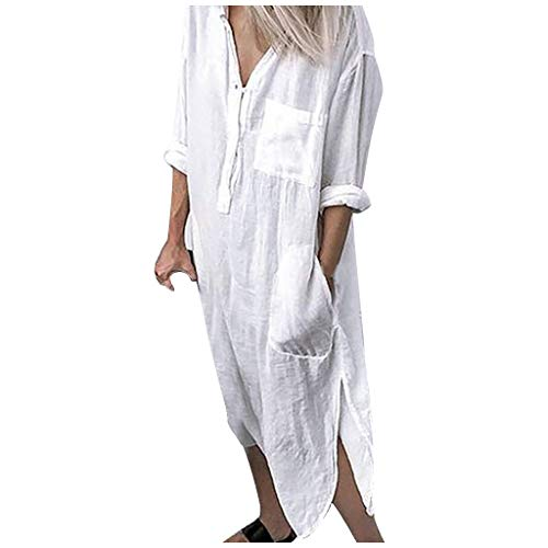 Hochzeitsgäste Hemdkleid Damen Fahrrad Kleidung Herren Strickkleider Für Damen Kleider Mädchen Sommer Kleidung Für Damen Hochzeitskleider Für Kinder Hemdblusenkleider Damen(Weiß,L)