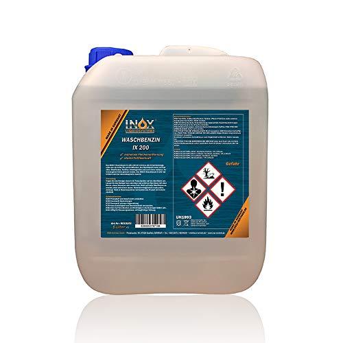 INOX® IX 200 Waschbenzin, 5L - Reinigungsbenzin für Textilien und Oberflächen in Auto oder Werkstatt mit hoher Fett- und Schmutzlösekraft