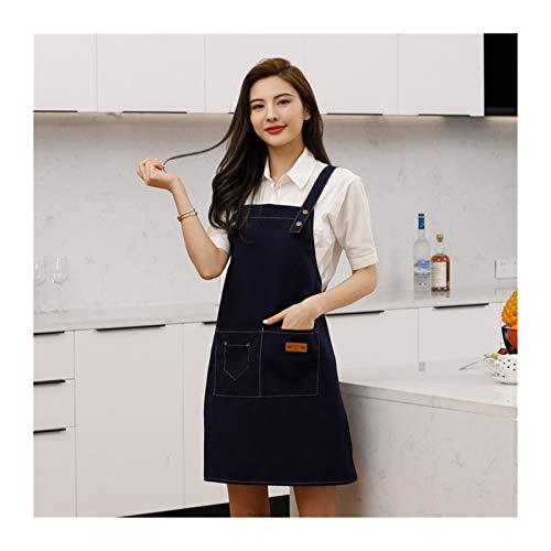 Moda algodn lienzo delantal polvo a prueba de polvo Tienda de t de leche ropa de trabajo (Color : Blue)