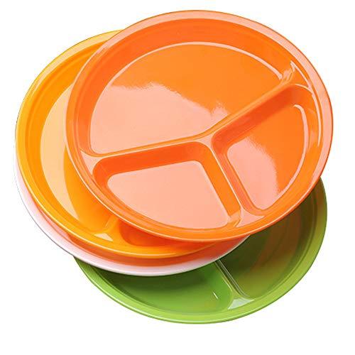 AIYoo Paquete de 4 platos divididos, 26 cm, platos divididos reutilizables de melamina, tres platos redondos divididos, platos de cena para niños y mayores, 4 colores en un solo juego