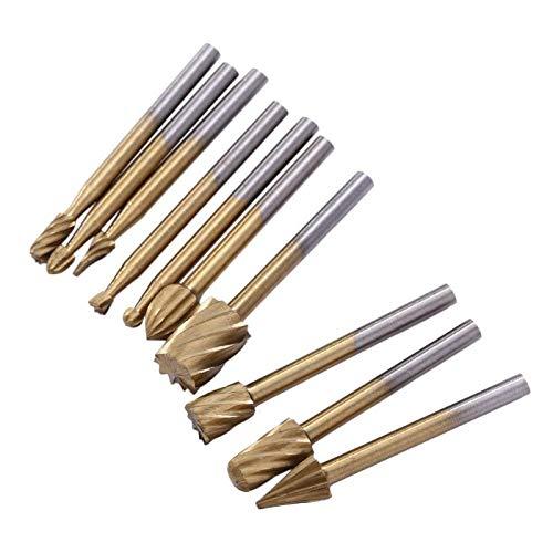 10 stks/Set Cutter HSS Titanium Dremel Routing Roterende frees gereedschap slijpen Bits Burr voor Dremel Graveren Hout Rotary Tool