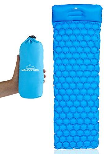 MOUNTREX® Aufblasbare Isomatte Schlafmatte - Ultraleicht, Kompakt & Wasserdicht - Luftmatratze, Schlafunterlage für Camping, Wandern & Outdoor - Inkl. Reparatur Kit (Blau, mit Kissen)