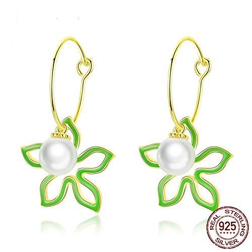 AdronQ Flores con Damas Esmalte Pendientes De Perlas Pendientes Colgantes De Moda 925 Joyas De Plata