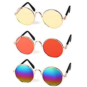 Pets Can See Colors Dogs Cats Round Retro Party Favors Sunglasses Set Cute Funny Cosplay Toys Costume Photos Props