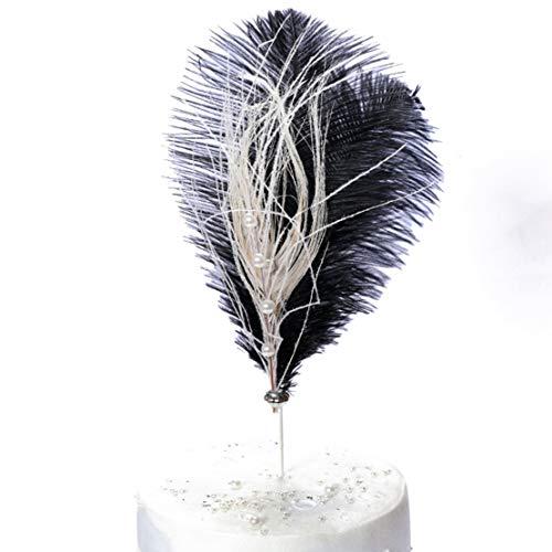Longhnll - Kit de decoración para tarta de novia, diseño de corona talla única Pluma (Negro)