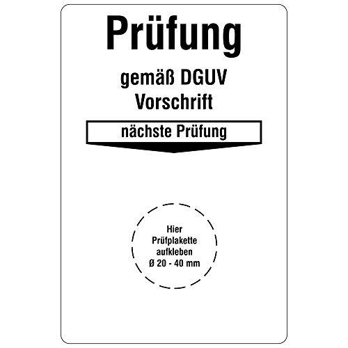 Labelident Grundplaketten für Prüfplaketten 76 x 51 mm - Prüfung gemäß DGUV Vorschrift - nächste Prüfung - 100 Grundetiketten in der Packung, Vinylfolie, weiß, selbstklebend