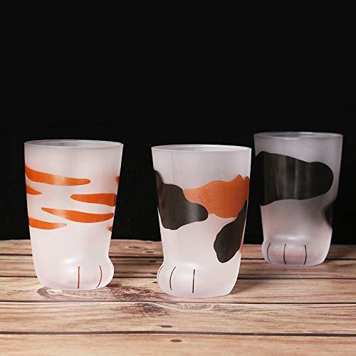 Katze Pfote Glas Tasse, Cat Claw Cup Breakfast Milk Cup, Heat Resistent Handmade Creative Milk Mug Tea Whiskey Glass Cup Present Tassen, Valentines Gift 300ml,B