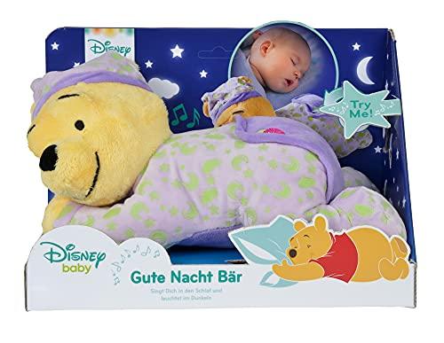 Simba 6315874904 – Winnie Puuh, Gute Nacht Bär, Kuscheltier als Einschlafhilfe, mit Gute-Nacht-Melodie, leuchtet im Dunkeln, 30 cm, für Babys ab dem ersten Monat