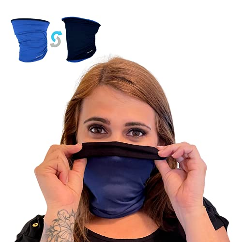 StarlitScapes Bamboo Neck Gaiter   Reversible Black & Blue (Large) Two Layer Balaclava