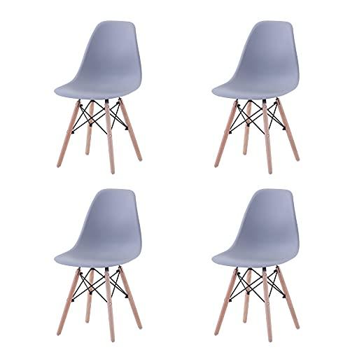 GrandCA Home Ensemble de 4 chaises, Design Bois Chaise de Salle à Manger, Chaise de Bureau, Chaise de Salon (Gris-4)