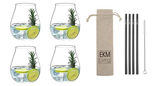 Riedel Gin Tonic Set di 4 Bicchieri + Gratis Set EKM Living Acciaio Inossidabile Cannucce Corte Nero