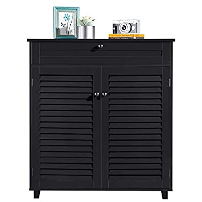 YAHEETECH Shoe Cabinet Bathroom Storage Cabinet with 1 Drawer Adjustable Shelf Shoe Rack Pinter Stand for Home Office Black