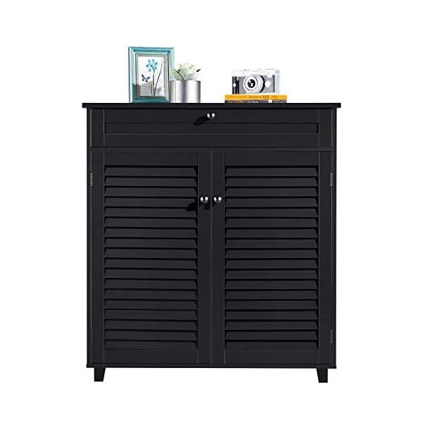 YAHEETECH Shoe Cabinet Bathroom Storage Cabinet with 1 Drawer Adjustable Shelf Shoe...