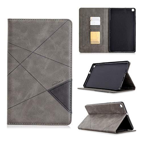 SZCINSEN Funda vertical prismática para tablet Samsung T290. Funda de piel sintética avanzada con función de soporte [con ranura para tarjetas] (color gris)