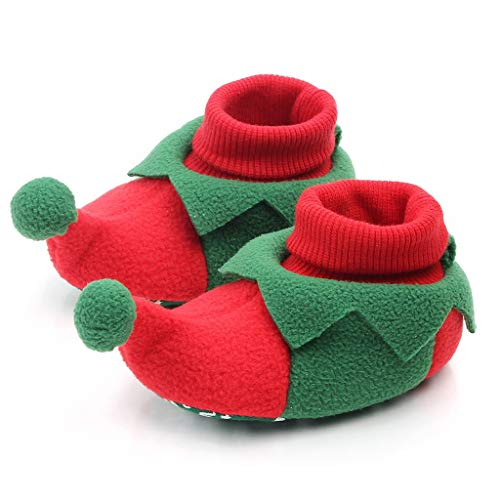 Baby Christmas Boots,Mkcether Slipper Shoes Infant Novelties Santa Elf Penguin Shoes Newborn Booties Toddler Winter Warm Prewalker Unisex Baby Boy Girl Cozy Fleece Booties Funny and Cute Best Gifts