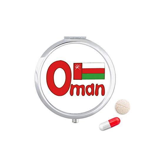 DIYthinker Oman Nationale Vlag Rood Groen Patroon Reizen Pocket Pill Case Medicine Drug Opbergdoos Dispenser Spiegel Gift