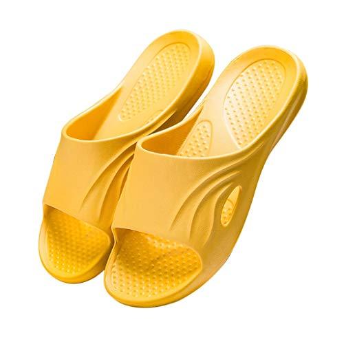 Hausschuhe für Schwangere, Ältere Hausschuhe rutschfest, Frauen Herren Massage Hausschuhe, Kissenkomfort & Fußgewölbestütze, Paar Hausschuhe Soft Bottom (Color : Yellow, Size : EUR 39-40)