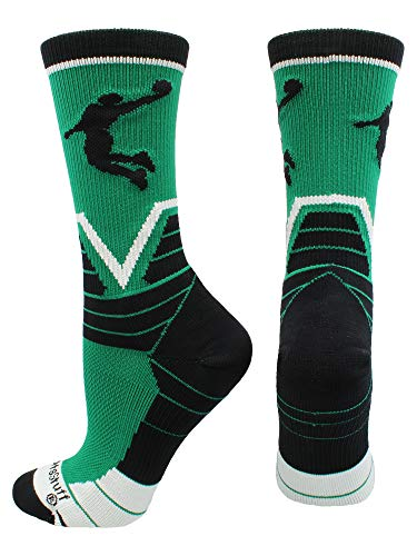 MadSportsStuff Basketball Player Victory Crew Socks (Kelly Green/Black/White, Medium)