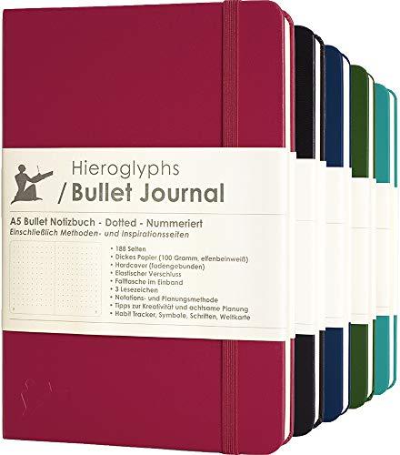 Bullet Journal/Notizbuch A5 dotted- mit Methode - nummerierte Seiten, Falttasche, 3 Lesezeichen, Verschlussgummi - von Hieroglyphs