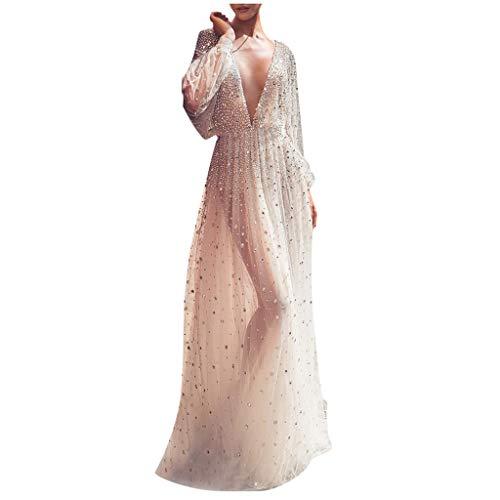 TWISFER Damen Elegant Abendkleider Sexy Spitze Partykleider Ballkleider Festkleider Sommerkleider Cocktailkleid Maxikleid Ärmellos Neckholder