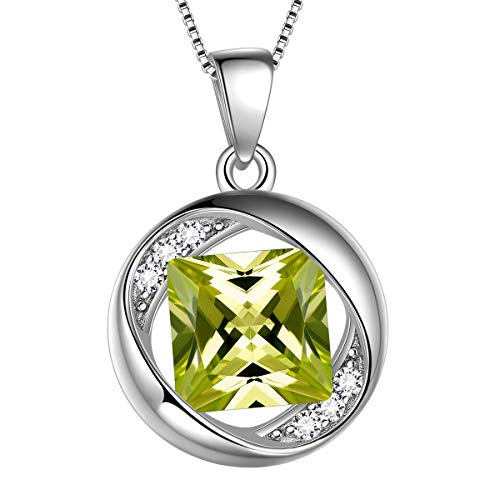 Aurora Tears August Birthstone Necklace 925 Sterling Silver Green Peridot Birth Stone Pendant Jewellery Gifts for Women and Girls DP0029A