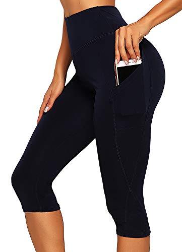 INSTINNCT Damen Doppeltaschen Sport Leggings 3/4 Yogahose Sporthose Laufhose Training Tights mit Handytasche Capris(normal) - Dunkelblau L