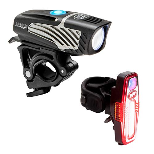 NiteRider Lumina Micro 900 Front Bike Light Sabre 110 Rear Bike Light Combo Pack- USB Rechargeable Bicycle Headlight LED Front Light Water Resistant Mountain Road City Commuting Cycling Safety Flash