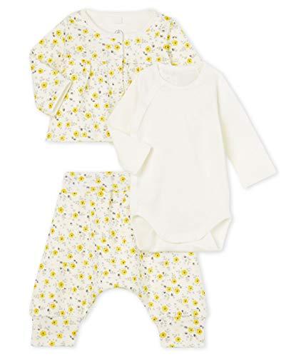 Petit Bateau Baby-Mädchen Ensemble 3 Pieces_5068901 Bekleidungsset, Mehrfarbig (Marshmallow/Multico 01), 80 (Herstellergröße: 12M/74cm)
