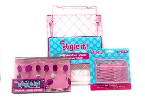 Bundle of School Locker Shelf, Magnetic Storage Bin and Magnetic Locker Curtain - Best School Locker Decor and Accessories for Girls (Pink)