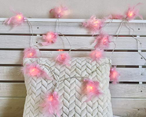 Pink Feather Lantern String Lights 11Ft 20 LED Battery Powered Indoor String Light for Party Bedroom Bohemian Wall Decor