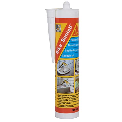 Sika Sanisil Blanc, Mastic silicone, joint silicone anti-moisissures, mastic bain et cuisine longue durée, 300ml