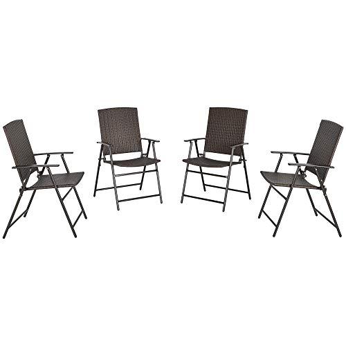 Outsunny 4tlg. Polyrattanstühle Klappstuhl Gartenstuhl mit Rückenlehne klappbar Stahl Braun 58 x 61 x 94 cm