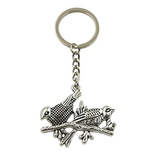 N/ A Hibiskusbaum AST Anhänger Schlüsselring Metallkette Silber Herren Auto Geschenk Souvenir Schlüsselbund